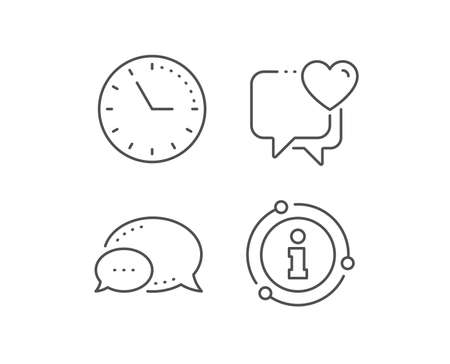 Heart line icon. Chat bubble, info sign elements. Love chat sign. Valentine day symbol. Linear heart outline icon. Information bubble. Vector  イラスト・ベクター素材