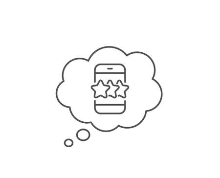 Star line icon. Chat bubble design. Feedback rating phone sign. Customer satisfaction symbol. Outline concept. Thin line star icon. Vector