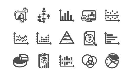 Charts and graphs icons. Infochart, Block diagram and Algorithm. Presentation classic icon set Quality set. Vector Archivio Fotografico - 133842573