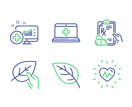 Medical analytics, Medical help and Prescription drugs line icons set. Leaf, Organic tested and Heartbeat signs. Medicine system, Medicine laptop, Pills. Environmental. Healthcare set. Vector Ilustração
