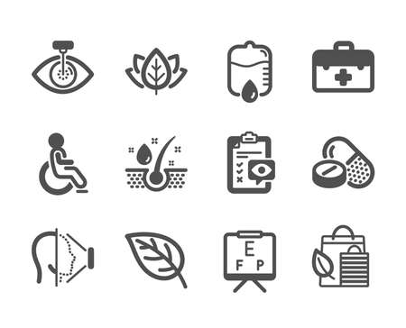 Set of Healthcare icons, such as Eye checklist, Serum oil, Eye laser, Medical drugs, Drop counter, First aid, Face id, Disabled, Vision board, Leaf, Organic tested, Bio shopping. Vector Reklamní fotografie - 133842627