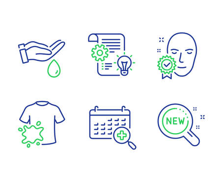 Wash hands, Dirty t-shirt and Face verified line icons set. Cogwheel, Medical calendar and New products signs. Skin care, Laundry shirt, Access granted. Idea bulb. Business set. Vector Фото со стока - 133842682