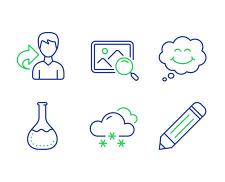 Share, Smile and Snow weather line icons set. Chemistry lab, Search photo and Pencil signs. Male user, Comic chat, Snowflake. Laboratory. Business set. Line share outline icons. Vector