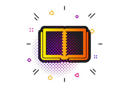 Education symbol. Halftone circles pattern. Book icon. Instruction or E-learning sign. Classic flat book icon. Vector Ilustracja