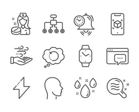 Set of Science icons, such as Wind energy, Energy, Smartwatch, Augmented reality, Skin condition, Seo message, Rainy weather, Head, Time management, Recovery data, Nurse, Restructuring. Vector Reklamní fotografie - 133842826