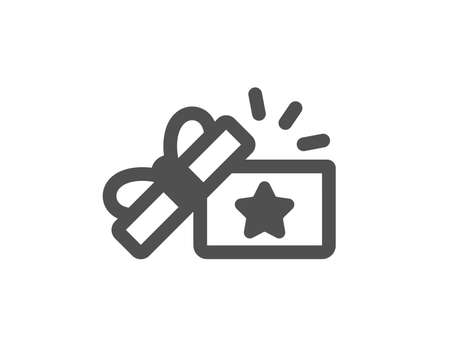 Bonus points. Loyalty gift box icon. Discount program symbol. Classic flat style. Simple loyalty gift icon. Vector
