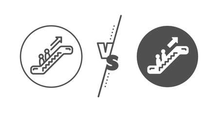 Elevator sign. Versus concept. Escalator line icon. Shopping stairway symbol. Line vs classic escalator icon. Vector 일러스트