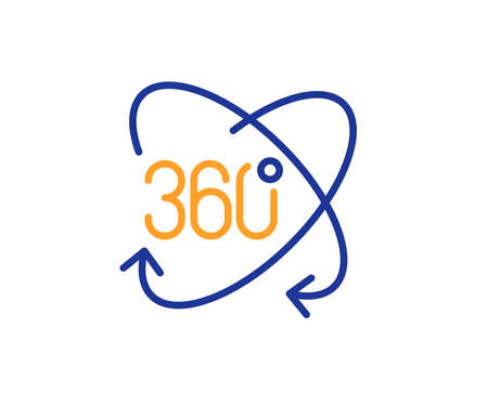 Full rotation sign. 360 degree line icon. VR technology simulation symbol. Colorful outline concept. Blue and orange thin line full rotation icon. Vector