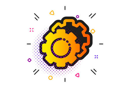 Cogwheel sign. Halftone circles pattern. Settings gears icon. Working process symbol. Classic flat settings gears icon. Vector