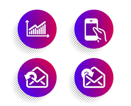 Hold smartphone, Graph and Send mail icons simple set. Halftone dots button. Receive mail sign. Phone call, Presentation diagram, Sent message. Incoming message. Technology set. Vector