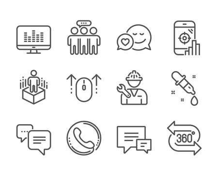 Set of Technology icons, such as Music making, Swipe up, Call center, Comment, 360 degree, Augmented reality, Employees group, Repairman, Chemistry pipette, Dots message, Seo phone, Dating. Vector Reklamní fotografie - 133842960
