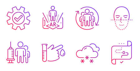Service, Face recognition and Teamwork line icons set. Snow weather, Blood donation and Medical vaccination signs. Augmented reality, Target path symbols. Cogwheel gear, Faces biometrics. Vector