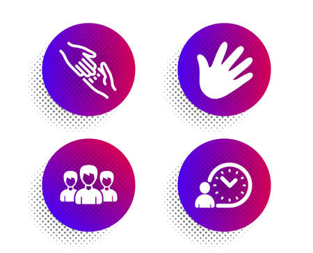 Group, Helping hand and Hand icons simple set. Halftone dots button. Time management sign. Group of people, Give gesture, Swipe. Work time. People set. Classic flat group icon. Vector Ilustrace