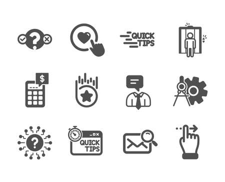 Set of Technology icons, such as Education, Question mark, Quick tips, Like button, Search mail, Touchscreen gesture, Support service, Quiz test, Cogwheel dividers, Calculator, Elevator. Vector