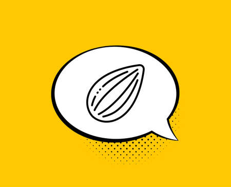 Almond nut line icon. Comic speech bubble. Tasty nuts sign. Vegan food symbol. Yellow background with chat bubble. Almond nut icon. Colorful banner. Vector