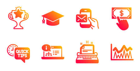 Payment click, Victory and Online documentation line icons set. Typewriter, Messenger mail and Graduation cap signs. Quick tips, Investment symbols. Financial transfer, Championship prize. Vector Ilustrace