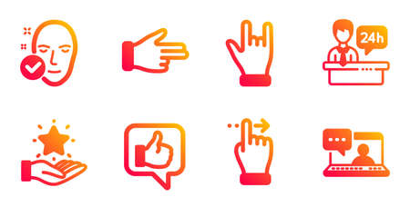 Reception desk, Click hand and Loyalty program line icons set. Like, Touchscreen gesture and Health skin signs. Horns hand, Friends chat symbols. Hotel service, Direction finger. People set. Vector Ilustrace