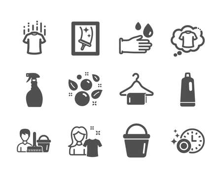Set of Cleaning icons, such as Clean towel, Dry t-shirt, Spray, Window cleaning, Bucket, Clean bubbles, Rubber gloves, T-shirt, Dishwasher timer, Shampoo, Cleaning service classic icons. Vector Reklamní fotografie - 133845046
