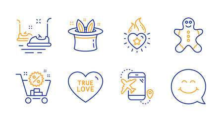 True love, Bumper cars and Flight destination line icons set. Hat-trick, Shopping cart and Heart flame signs. Gingerbread man, Smile face symbols. Sweet heart, Carousels. Holidays set. Vector