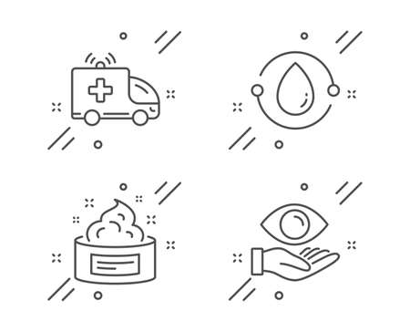 Cold-pressed oil, Skin cream and Ambulance car line icons set. Health eye sign. Organic tested, Medical cosmetic, Emergency transport. Optometry. Healthcare set. Vector Ilustracja