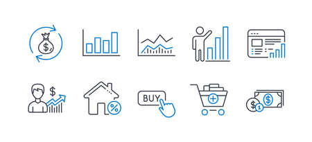 Set of Finance icons, such as Trade infochart, Money exchange, Graph chart, Business growth, Add products, Loan house, Buy button, Web report, Report diagram, Dollar money line icons. Vector Stock Illustratie