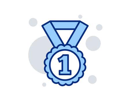 Icona della linea di ricompensa medaglia. Successo del vincitore o simbolo del premio. Segno di gloria o onore. Segno di design lineare. Icona di rango migliore colorato. Vettore