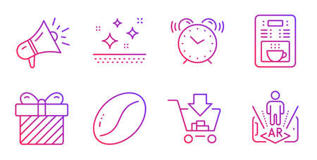 Clean skin, Surprise and Coffee maker line icons set. Megaphone, Alarm clock and Shopping signs. Coffee beans, Augmented reality symbols. Face cream, Present with bow. Business set. Vector Illusztráció