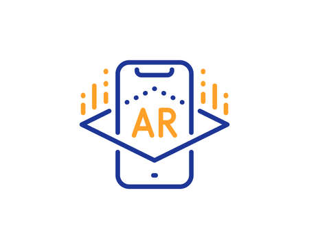 VR simulation sign. Augmented reality phone line icon. 3d view symbol. Colorful outline concept. Blue and orange thin line augmented reality icon. Vector Stok Fotoğraf - 133845456