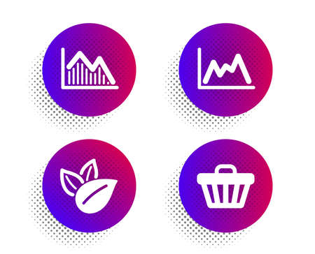 Organic product, Investment graph and Diagram icons simple set. Halftone dots button. Shop cart sign. Leaves, Investment infochart, Growth graph. Web buying. Business set. Vector Archivio Fotografico - 133845504