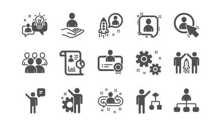 Management icons. Business people, Algorithm and Group. Startup strategy classic icon set. Quality set. Vector