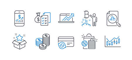 Set of Finance icons, such as Loyalty program, Coins, Bitcoin project, Sales diagram, Change card, Shopping bags, Analytics graph, Mobile finance, Accounting wealth, Financial diagram. Vector Reklamní fotografie - 133845733