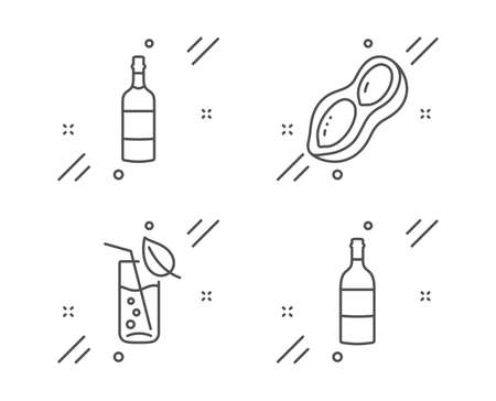 Water glass, Brandy bottle and Peanut line icons set. Wine bottle sign. Soda drink, Whiskey, Vegetarian nut. Food and drink set. Line water glass outline icon. Vector Stock fotó - 133846074