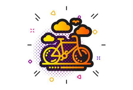 Bicycle rent sign. Halftone circles pattern. Bike rental icon. Hotel service symbol. Classic flat bike rental icon. Vector