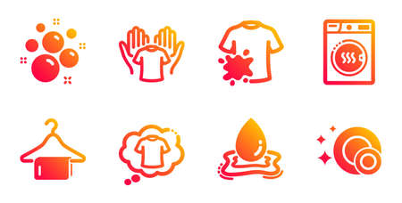 Clean towel, Clean bubbles and Hold t-shirt line icons set. Dryer machine, Water splash and Dirty t-shirt signs. Laundry hanger, Laundry shampoo. Cleaning set. Gradient clean towel icons set. Vector Archivio Fotografico - 133846095