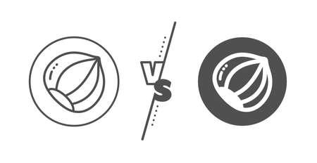 Tasty nut sign. Versus concept. Hazelnut line icon. Vegan food symbol. Line vs classic hazelnut icon. Vector  イラスト・ベクター素材