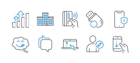 Set of Technology icons, such as Edit user, Smartphone protection, Swipe up, Company, Yummy smile, Messenger, Contactless payment, Analysis graph, Flash memory, Scroll down line icons. Vector