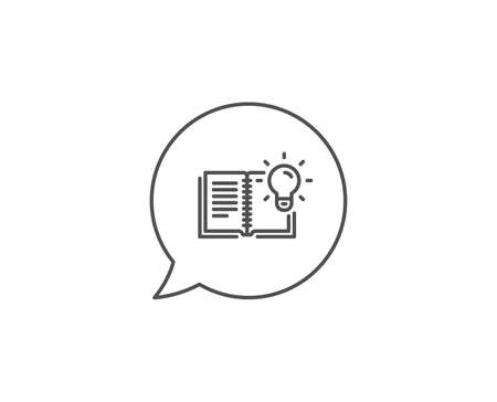 Product knowledge line icon. Chat bubble design. Education process sign. Outline concept. Thin line product knowledge icon. Vector