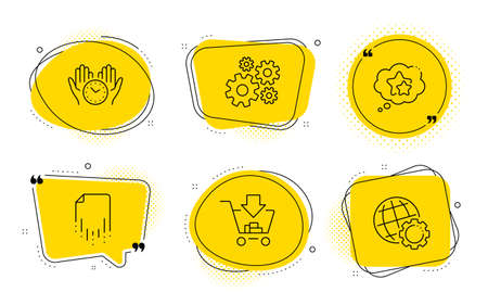 Safe time, Shopping and Globe signs. Chat bubbles. Recovery file, Cogwheel and Ranking stars line icons set. Backup document, Engineering tool, Winner award. Hold clock. Technology set. Vector