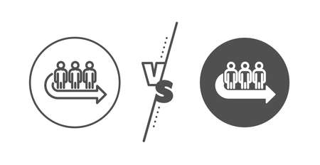 People waiting sign. Versus concept. Queue line icon. Direction arrow symbol. Line vs classic queue icon. Vector
