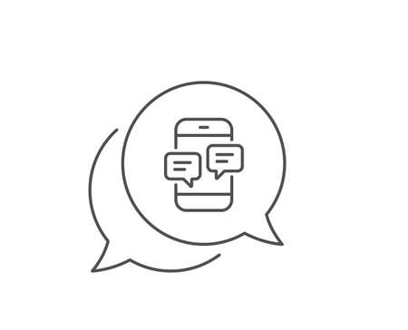 Phone Message line icon. Chat bubble design. Mobile chat sign. Conversation or SMS symbol. Outline concept. Thin line phone Messages icon. Vector 向量圖像