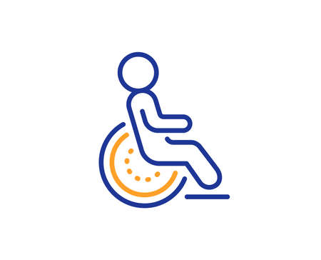 Disabled person sign. Disability line icon. Hotel service symbol. Colorful outline concept. Blue and orange thin line disability icon. Vector 向量圖像