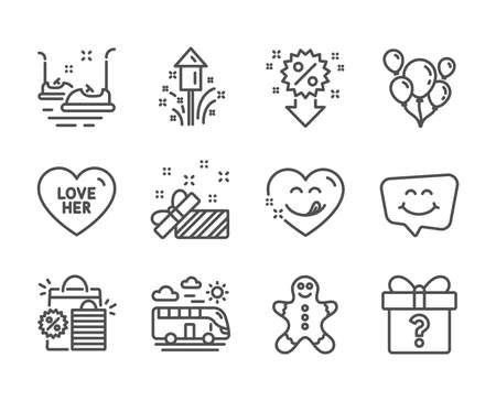 Set of Holidays icons, such as Balloons, Fireworks, Shopping bags, Smile chat, Love her, Bus travel, Yummy smile, Bumper cars, Present, Gingerbread man, Secret gift, Discount line icons. Vector Ilustrace