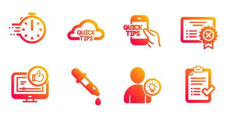 Education, Chemistry pipette and Reject certificate line icons set. Cooking timer, Like video and Quick tips signs. User idea, Approved checklist symbols. Quick tips, Laboratory. Vector Illusztráció
