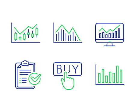 Investment graph, Statistics and Buying line icons set. Survey checklist, Financial diagram and Bar diagram signs. Investment infochart, Financial report, E-commerce shopping. Report. Vector Archivio Fotografico - 133848835