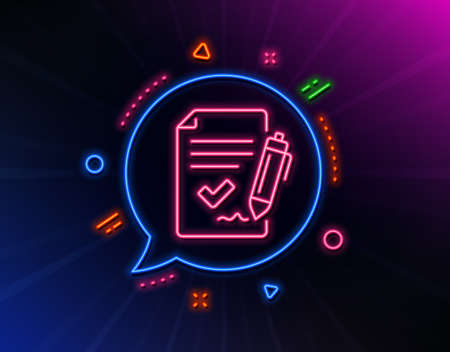 Approved agreement line icon. Neon laser lights. Sign document. Accepted or confirmed symbol. Glow laser speech bubble. Neon lights chat bubble. Banner badge with approved agreement icon. Vector Illusztráció