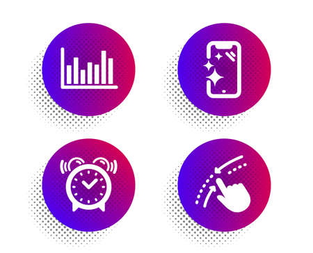 Alarm clock, Bar diagram and Smartphone clean icons simple set. Halftone dots button. Swipe up sign. Time, Statistics infochart, Phone screen. Touch down. Business set. Vector