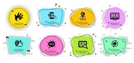 Apple, Online video and Idea line icons set. Chat bubbles with quotes. Education, Copyrighter and Social responsibility signs. Search photo, Continuing education symbols. Fruit, Video exam. Vector