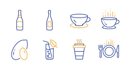 Takeaway, Coffee cup and Peanut line icons set. Water glass, Espresso and Champagne signs. Beer bottle, Food symbols. Takeout coffee, Hot drink. Food and drink set. Line takeaway icon. Vector 向量圖像
