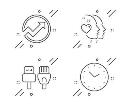 Audit, Heart and Computer cables line icons set. Time sign. Arrow graph, Love head, Rj45 internet. Clock. Business set. Line audit outline icon. Vector
