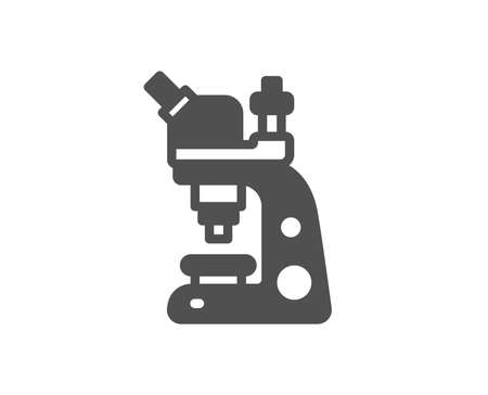 Chemistry lab sign. Microscope icon. Analysis symbol. Classic flat style. Simple microscope icon. Vector